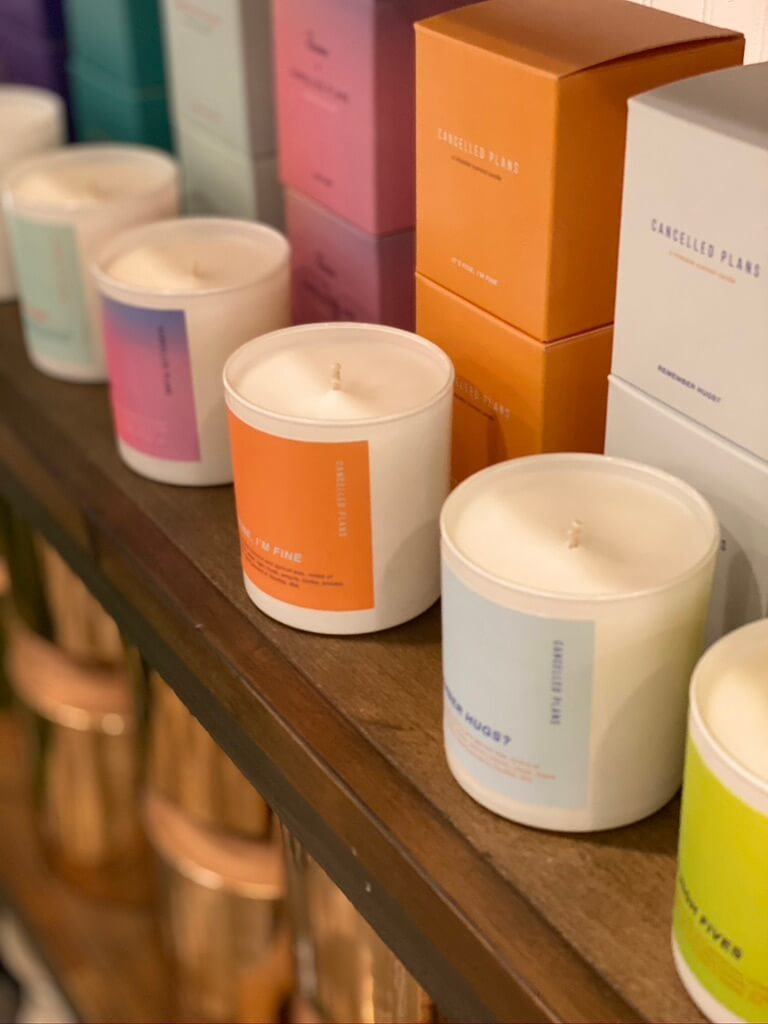 Cancelled Plans candle line at Juniper Flowers