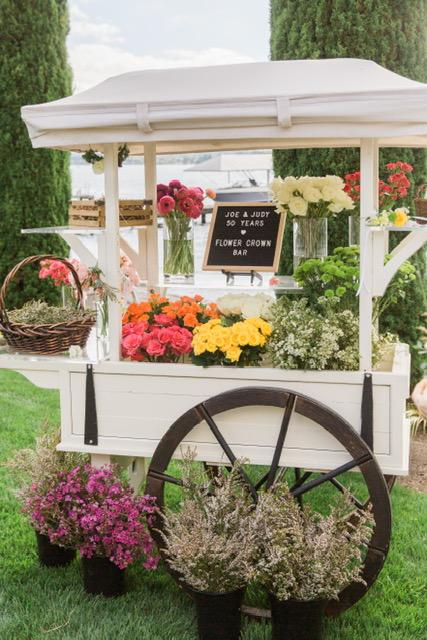 rental cart for flower crown bar